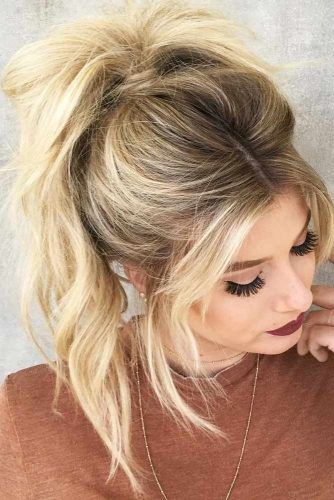 18 Ways To Rock A Ponytail With Bangs Lovehairstyles Com High Ponytail Hairstyles Messy Ponytail Hairstyles Prom Hairstyles For Long Hair