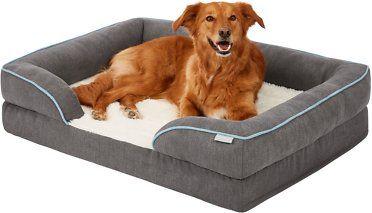 Frisco Plush Orthopedic Front Bolster Cat Dog Bed Gray Medium Chewy Com Memory Foam Pet Bed Orthopedic Dog Bed Best Orthopedic Dog Bed