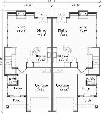 Main Floor Plan For D 600 Craftsman Duplex House Plans Luxury Duplex House Plans Hillsboro Oregon In 2020 Duplex House Plans Town House Floor Plan Duplex Floor Plans