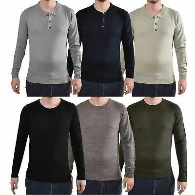 Popular Mens Long Sleeved Warm T-Shirt Plain Cotton Crew Neck Tee Casual Tops