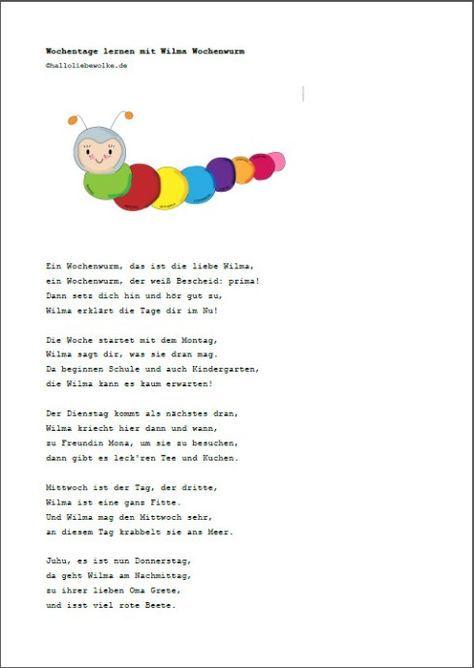 Wochentage Lernen Mit Wilma Wochenwurm Lerngeschichte Printable Hallo Liebe Wolke Lernen Spielerisches Lernen Buchstaben Lernen