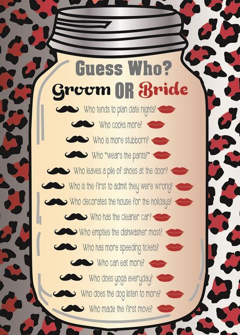 Guess Who? This is a very entertaining game to play, perfect for the girls at the hen party who know both the bride and groom!