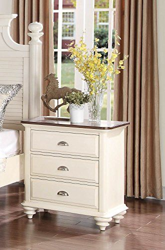 Cottage Style Antique White With Dark Cherry Top Bedroom Furniture Floresville Nightstand Antique White Furniture Bedroom Night Stands Furniture