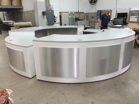 Round Curved Reception Desk Circular Desk Very Modern Cool White And Grey With Ada Co Curved Reception Desk Circular Reception Desk Office Reception Area