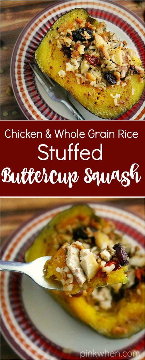 Stuffed Buttercup Squash Whole Grain Rice And Chicken Stuffed Buttercup Squash Recipe Buttercup Squash Acorn Squash Recipes