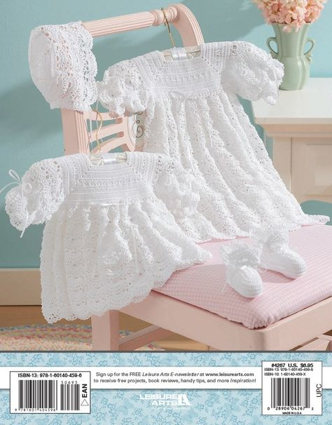 Christening Sets to Crochet eBook - There's a new family member on the way! Celebrate the little one's arrival by creating a special christening layette. You want the best for Baby, so why not crochet one of these two classic christening sets designed by Kay Meadors? Each set includes a lacy cap and booties with satin ribbon ties, as well as your choice of a short dress or long gown enhanced with ribbon. Whether you crochet Offset Shells or Open Crescents, you'll fashion an heirloom layette that will be worn and treasured by future generations.