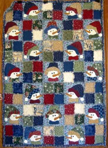 Image detail for -This darling snowman rag quilt kit includes front, back and flannel ...