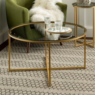Gold X Base Glass Round Coffee Table Round Glass Coffee Table