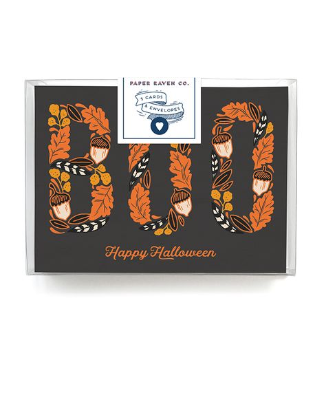 5 Cards with 5 Matching Envelopes A charming Halloween card, with hand-illustrated type featuring leaves and acorns. This card is printed on luxe 110lb creamy matte archival paper and has a gorgeous f