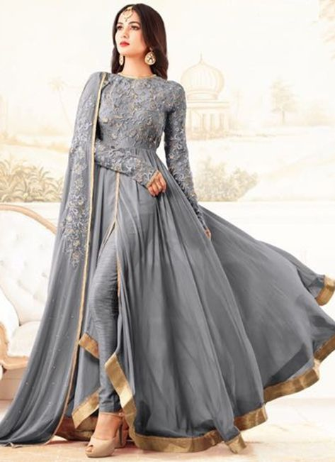 Buy Grey Georgette Anarkali Suit online, SKU Code: SLSCCM27006. This Grey color Party anarkali suit for Women comes with Embroidered Faux Georgette. Shop Now!