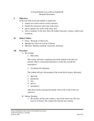 Lesson Plan On Elements Of Short Story Lesson Plan Examples