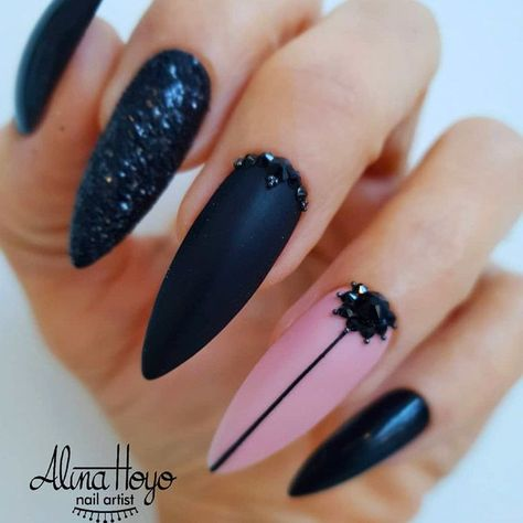 Stilettos And Negative Space Matte Mix Art  ❤ 30+ Fearless Combinations With Black Stiletto Nails   ❤ See more ideas on our blog!!! #naildesignsjournal #nails #naildesigns