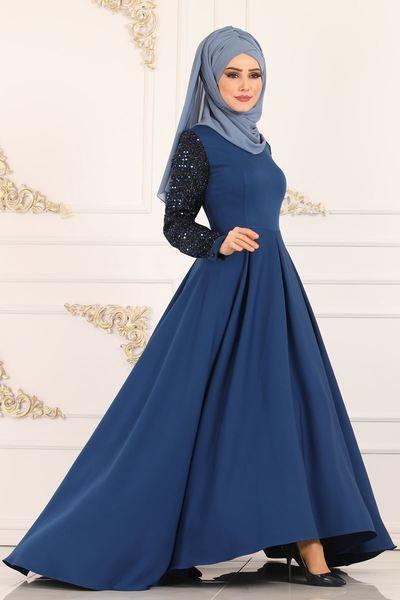 Modaselvim Abiye Pul Payetli Kuyruklu Abiye 6601m108 Indigo Gowns Dresses Ball Gowns