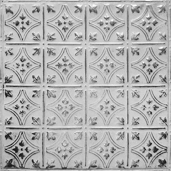 American Tin Ceilings 24 In X 24 In Silver Washed White Backsplash Panels Lowes Com Tin Ceiling Metal Wall Panel Vinyl Wall Panels