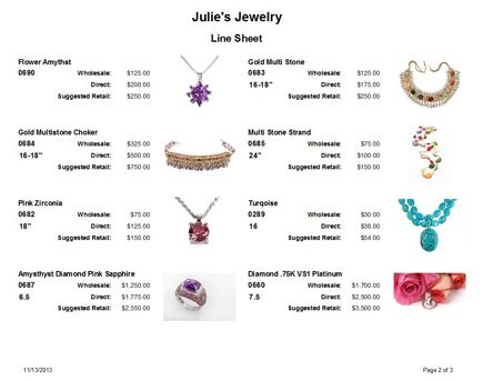 Jewelry Making Software with Line Sheet to help you sell jewelry ...