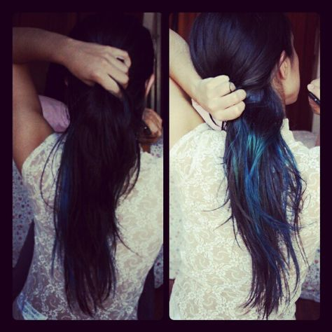 ictuscordis #bluehair #highlights #blackhair #longhair #brunette #hair #blue #darkhair #manicpanic #lace