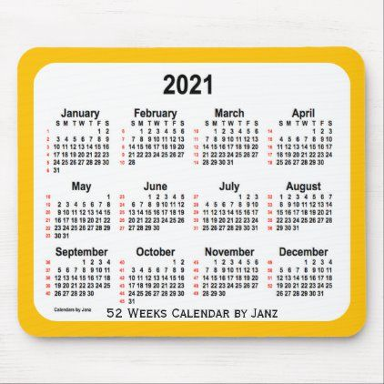 2021 Gold Neon 52 Weeks Calendar By Janz Mouse Pad Zazzle Com In
