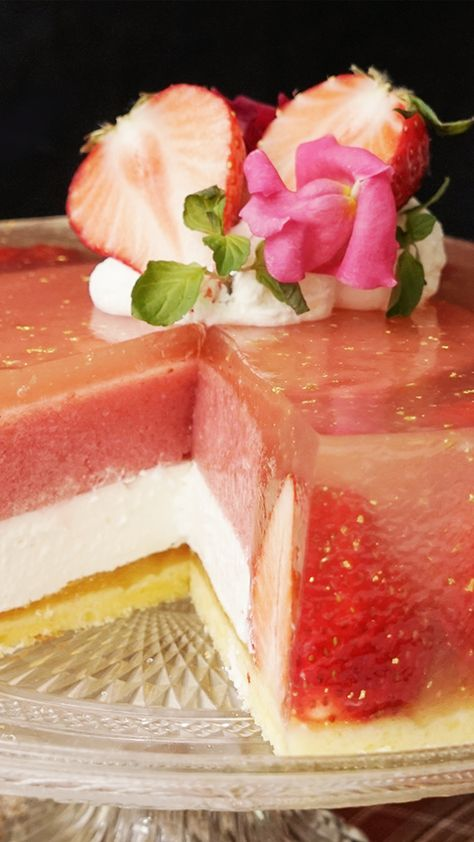 Quite possibly the most elegant and luxurious jello with strawberries and gold. Fancy, fancy.