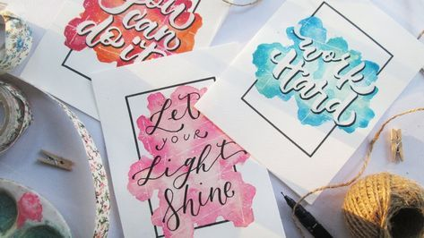 How To Diy Easy Watercolor Background And Calligraphy Youtube