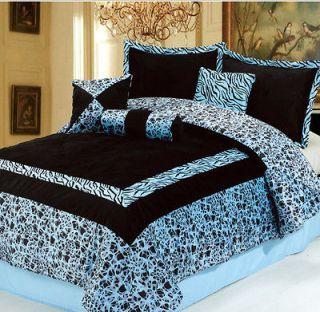 7pc Blue Zebra Animal Print Comforter Bedding Set King Bed In A