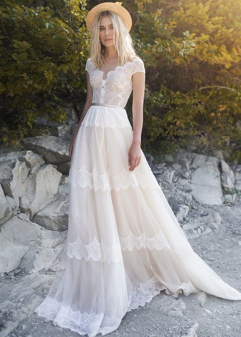 Simple Wedding Dress, Beachy Tulle V-neck Neckline A-Line Wedding Dress With Lace Appliques & Belt AilsaBridal#ailsabridal #aline #appliques #beachy #belt #dress #lace #neckline #simple #tulle #vneck #wedding