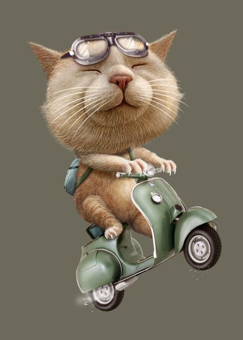 Displate Poster RUNAWAY CAT cat #motorcycle #scooter #funny #cute