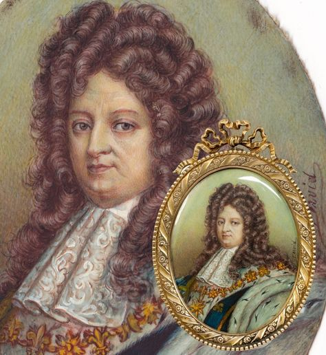 Fine Antique Portrait Miniature, Frame, French King Louis XIV, The Sun King