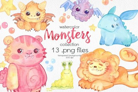 Watercolor Baby Monsters Clipart (1346590) | Clipart | Design Bundles