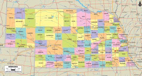 Map of State of Nebraska with outline of its cities towns and