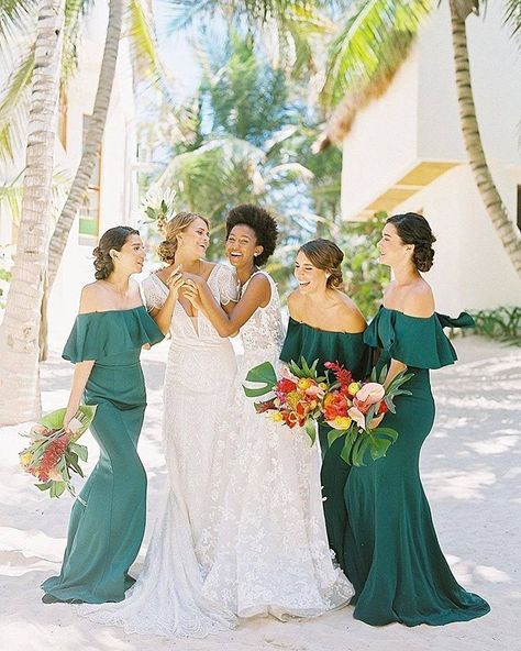 Off the should green bridesmaid dresses in the same color as the Monstera leaf. The perfect #beachbridesmaiddress