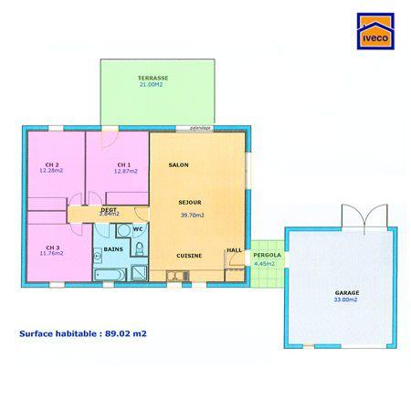Plan Maison 80m2 Plein Pied En 2020 Plan Maison 100m2 Maison Plain Pied Plan Maison Plain Pied