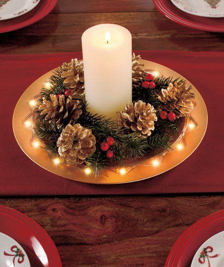 Lighted Red Or Gold Holiday Charger Plate Centerpiece Decorative 16 Bright Led S Christmas Tableware Christmas Table Centerpieces Winter Table Decorations