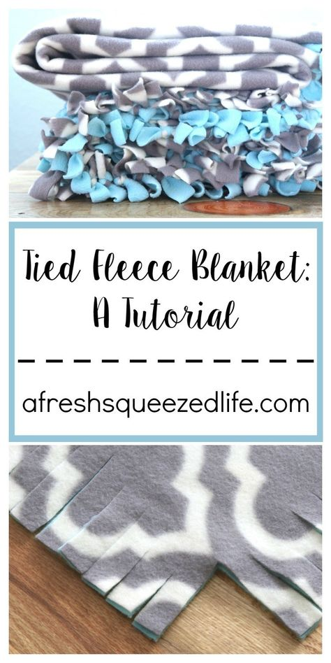 TIED FLEECE BLANKET: A TUTORIAL - A Fresh-Squeezed Life Are you ready for the simplest tutorial around? I will show you how to make a tied fleece blanket for everyone on your shopping list. Get ready to snuggle! Fleece Tie Blankets, No Sew Fleece Blanket, No Sew Blankets, Cozy Blankets, Weighted Blanket, Snuggle Blanket, Hand Made Blankets, Diy Knot Blankets, Blanket Gifts