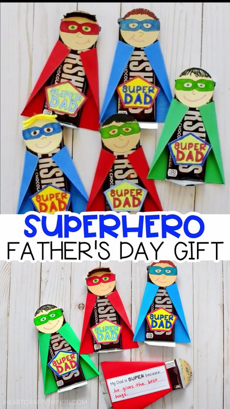 Fun and easy Super Dad Father's Day Gift idea for kids to make for dad and grandpa. Our simple free template makes this an easy Father's Day craft for kids of all ages to create. We've included a message that kids can personalize on the back of the Father's Day superhero candy bar for kids to write what makes their Dad extra super. #iheartcraftythings