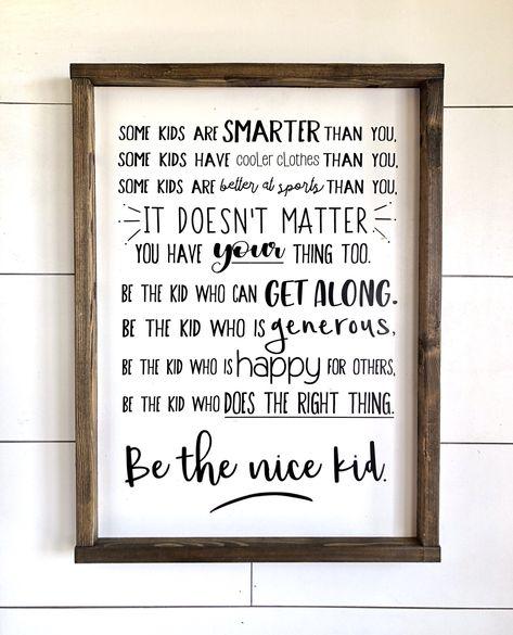 Be The Nice Kid Teenager Kids Room Custom Sign   Etsy