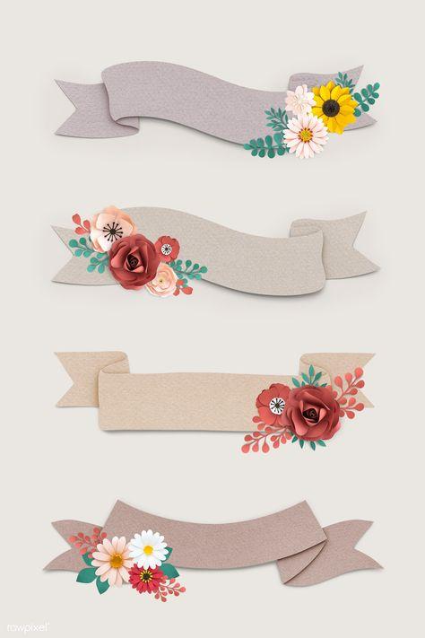Floral banner design vector set | premium image by rawpixel.com / Minty