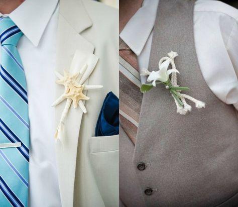 mariage sur la plage boutonnières avec coquillages et fleurs