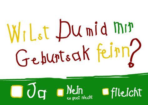 Einladungskarten - Einladung 40. Geburtstag (Wilst Du feirn?) - ein Designerstück von Das-Schoene-leben bei DaWanda