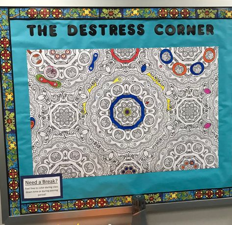 The De-stress Corner - Mrs. J in the Library's note: cool idea for a library center The De-stress Corner - Mrs. J in the Library's note: cool idea for a library center School Social Work, Middle School Classroom, School Bulletin Boards, Classroom Design, Future Classroom, Classroom Organization, Interactive Bulletin Boards, Brain Breaks Middle School, Classroom Behavior