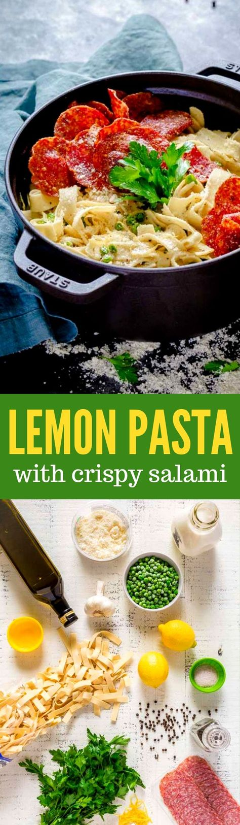 LEMON PASTA WITH CRISPY SALAMI is a family favorite! A scrumptious, creamy pasta sauce makes this Italian recipe extra special. This dish begins with wide noodles and a luscious lemon cream sauce. The crispy salami is a delightfully unexpected touch. Make this easy pasta recipe in 30 minutes! #easypastarecipes #Italianrecipes #lemonpasta #pastarecipe # creamypastasauce #pasta #salami #peas