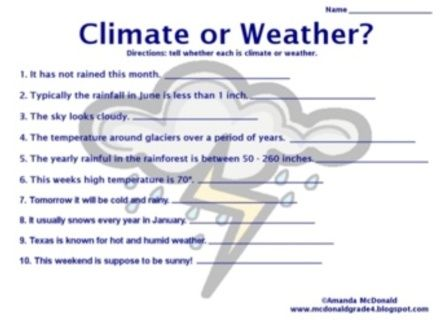 Image Result For Weather And Climate Worksheets Weather Lessons Weather Science Weather And Climate