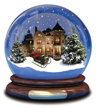 Paesaggio Con Slitta E Abeti Globi Di Neve Globi E Palla Di Vetro
