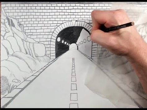 How To Draw A Highway Tunnel In One Point Perspective Youtube