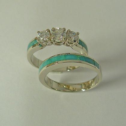 Turquoise Engagement Ring with Turquoise Wedding Band. Patrick Barnes