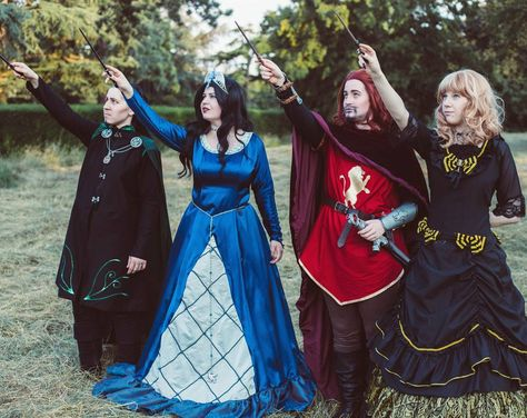 Pin for Later: 30 Harry Potter Group Costume Ideas For Anyone Trying to Forget They're a Muggle Salazar Slytherin, Rowena Ravenclaw, Godric Gryffindor, and Helga Hufflepuff Super Hero shirts, Gadgets