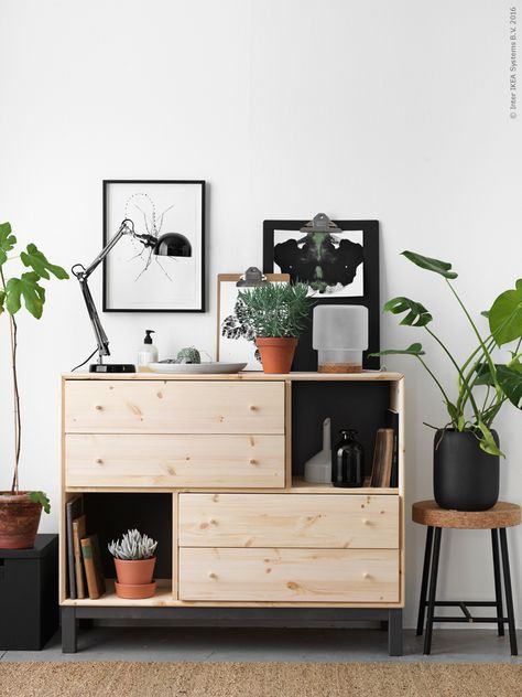 NORNÄS chest of 4 drawers/2 compartments SINNERLIG stool SINNERLIG plant pot