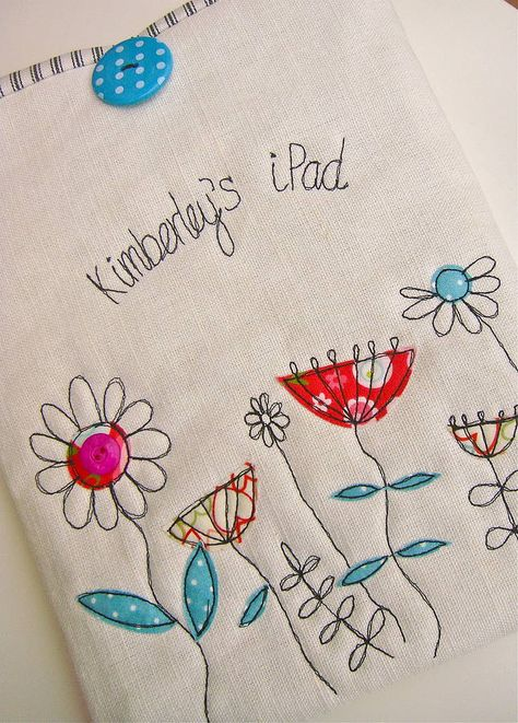 Flower case for ipad. make a great dishtowel or tea cosy design.