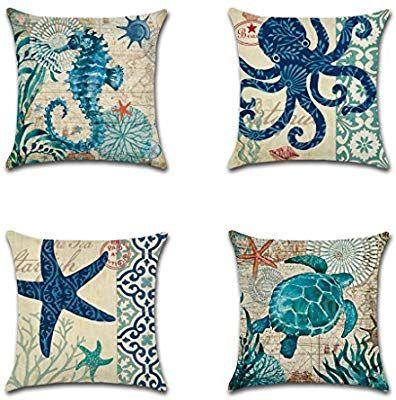 "18/"" Ocean Whale Seahorse Linen Throw Pillow Covers Cushion Cover Sofa Home Decor"