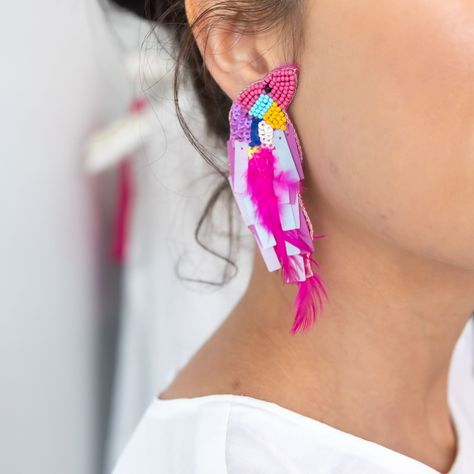 Hot pink feathered & beaded bird earrings
