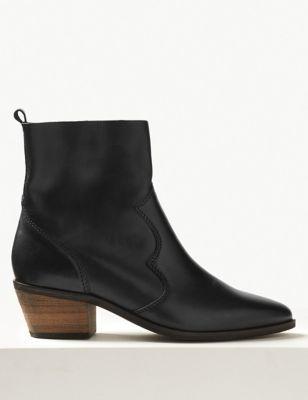 Leather Block Heel Western Boots | M\u0026S